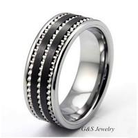 Black Ceramic Ring Men's Jewelry Wedding Engagement Finger Bands G&S009CR