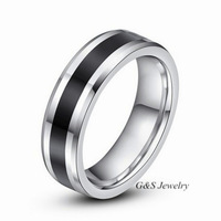 New 2014 Tungsten Carbide Ring Men Jewelry Wedding Bands Black Finger Ring Free Shippping G&S004WR