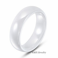 White Ceramic Ring by G&S Jewelry 6mm Width. Domed & Polished Design New Sizes 5-10, Black or White Color Available G&S006CR