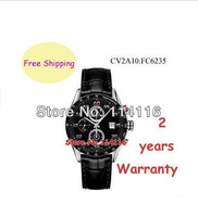 New Day Date quartz Mechanical Hand Wind Mens Watch CV2A10.FC6235 CV2A10 FC6235 Gents Black Leather Wristwatch + Original Box