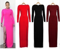 New 2014 long sleeve maxi dress women's slim four colors winter dress fashion long evening dress sexy side cut party dress D005