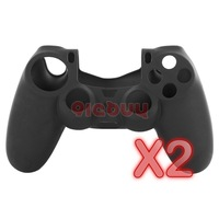 2PCS/lot Soft Silicone Camouflage Skin Case Cover for Sony PS4 Controller, Black