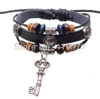 New Fashion Braided Cord Leather Beaded Bracelet Lucky Key Wristband Cuff Bangle Free Shipping