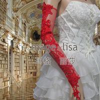 100% handmade Festive red rose fingerless long Bridal Gloves for wedding