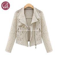 New Brand Hollow Lace Shawl Cardigan Jacket Short Blazers Women Chaquetas Jaqueta Motorcycle Coat Free shipping