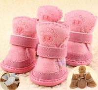 4pcs/set Free shipping pet shoes dog cotton shoes water proof warm winter dog shoes 2 colors 5 sizes
