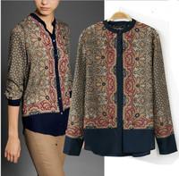 New Fall Brand Fashion Ladies' Vintage Flortal Totem Print Blouses Long Sleeve Women Cotton Shirt Casual Retro Brand Tops