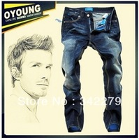 2014 new men's jeans blue label genuine ink wash jeans black mark / straight jeans