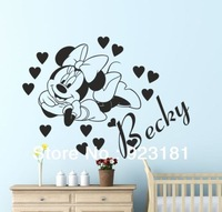 Hot Personalised Name Minnie Mouse Wall Art Sticker Decal DIY Home Decoration Wall Mural Removable Bedroom Sticker 58x47cm