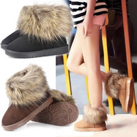 2013 New Womens Winter Boots With The Fur Copied Fox Solid Fashion Warm Snow Boots For Girls