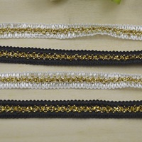 Free shipping New Arrival Shiny Webbing Lace Trim Braided, 1cm White Black with Gold Crocheted Sock Lace Ribbon High Quality