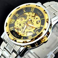 2013 Hot Selling Gold Skeleton Stainless Steel Winner Mechanical Wrist Watch
