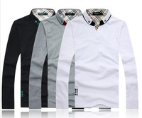 Free shipping men t-shirt 2014 new arrival branded men's shirts fashion long-sleeve T-shirt  with logo big size 3color,M-4XL