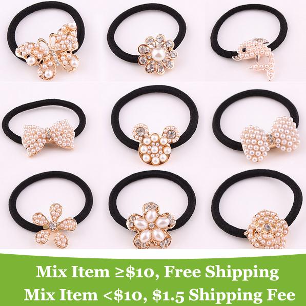 wholesale ! pearl Dolphin Animal Sun Bear Flower Butterfly heart Bow hair band hair jewelry Headdress !(China (Mainland))