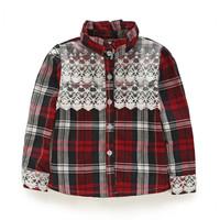 girls child plaid lace long-sleeve shirt 2014 spring and autumn child Maroon stripe fashion shirt
