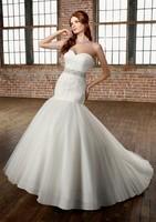 vestidos de noiva 2014 New Luxury Wedding Dress Strapless Beading Belt with Bow Formal Dress Mermaid Organza Wedding Dresses