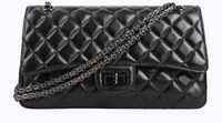 Real Lambskin Plaid Shoulder Bags High-end Natural Genuine Leather Women Handbags Vintage Black Color