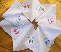 Handmade Handkerchief Cotton Handmade Lace Embroidered Handkerchief For Female Different Flowers Randomly 28X28CM
