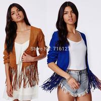 FREE SHIPPING new 2014 autumn winter Plus Size simple fashion Suede fringed hem round neck Slim leather jacket women XS-XXL