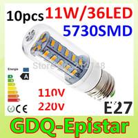 Free shipping 10x 5730 SMD 36LED 11W E27 E14 110V 220V 230V 240V Corn Bulb Light  Lamp LED Lighting Warm/Cool White Glass Cover