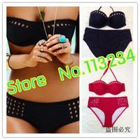 2014 New Good quality  RETRO Women Swimwear sexy Vintage Push Up Bandeau HIGH WAISTED Bikini Set S/M/L/XL hotsale