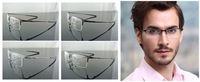 Man Luxury 100% Pure Titanium Half-Rim Eyeglass Frame Black Silver Gray Coffee 4 colors Optical Glasses RX 8906