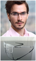 Man Luxury 100% Pure Titanium Silver Half-Rim Eyeglass Frame Optical Glasses RX 8906