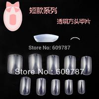 Free shipping 5bags/ lot -500pcs in a bag Clear Square false nail tips Acrylic Nail Art Tips