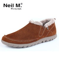 Men cotton-padded shoes male leather winter gommini thermal loafers casual shoes fashion shoes free shipping