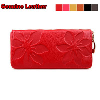 100% Head Layer Cowhide Women Genuine Leather Wallet Clutch Wallets with Embossed Floral