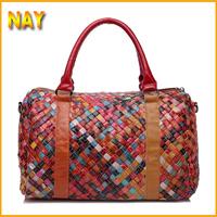 Wholesale NEW Wax Cowhide Handmade Woven Messenger Bags Woman Genuine Leather Handbag Women's Patchwork Tote Bags