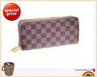 Free shipping brand designer plaid print double zipper pu leather men wallets women money clip carteras mujer