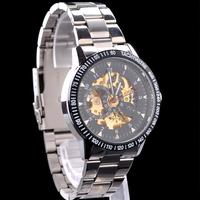 2013 Hot Selling Gold Skeleton Stainless Steel Winner Watch