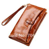 New Arrival Oil Wax First Layer Genuine Leather Women Vintage Wallet Hand Purse Woman Handbag Clutch Wallet  with Zipper