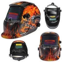 Skull Head Flame skeleton Solar Auto Darkening Welding Helmet Mask Welder Cap Welder Goggles Welding Tool UV/IR protection