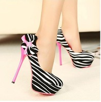 Women  high heels pumps zebra stripe bowtie bump color matching platform pumps 2013 new arrival vogue Free Shipping