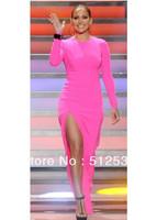 Hot Split Designer Celebrity Dress,Full Sleeve Long Pencil Dress Bodycon Novelty Dress