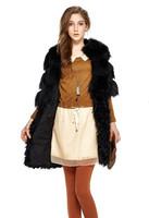 New 2013 Natural Fur Coat Autumn Winter Woman Genuine Fox  Fur Coat  Wool Jackets Spliced Lamb Furs Fashion Overwear