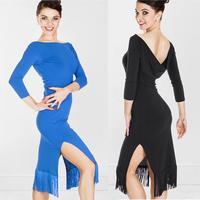 Woman's Long-sleeve Latin dance skirt Latin dance one-piece dress paragraph tassel Latin dance hypertensiveperson skirt