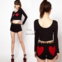 New Women Sexy Heart Pattern Printing Long Sleeve Short Bare Midriff T-Shirt Tops Drop shipping 18807