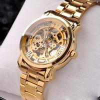 Brand MCE Golden Steel Luxury Christmas Gift Watch Automatic Watch Gold Skeleton Mechanical Watch