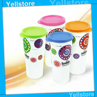 Free Shipping New arrival patchwork readily cup plastic portable travel cup juice cup leak-proof water tea cup