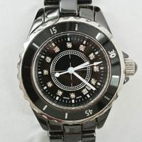 2014 Men Brand Black Ceramic Watch Women Dress Quartz Rhinestone Luxury Watches With LOGO