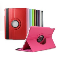 200pcs/lot 11 colors 360 degree rotating Litchi Grain PU Leather Case for iPad air ipad 5 (magnetic sleep wake Sensor)