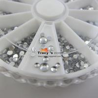 Nail Art 2mm 2.5mm 3.0mm 3size Silver Round Rhinestone In Wheel Nail Glitter Decoration Sticker Retail