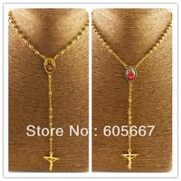 Real 24 K Gold Plating Pendant Necklace ! Classic Women's Choose Jesus Christ Cross Pendant Necklaces ! A082
