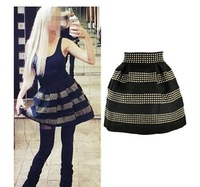 Woman  winter mini skirts shorts saias femininos 2013 gradient New rivets shorts women winter Black women's pencil skirt