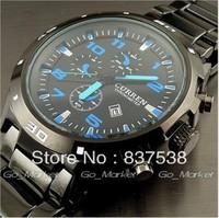 Men watches 2014 CURREN Sports Stainless Steel White/Blue/Red Quartz Wrist Watch Men's waterproof calendar Watches FreeShiping