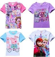 2015 Summer Cartoon T-shirts Blouse tShirts Baby Girls Childrens Kids Chothing Hello Kitty peppa pig frozen monster high