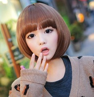 Hot Selling New Arrival Womens Girls Lovely Short Synthetic Straight Hair Wigs Light Brown Dark Brown Black Yellow